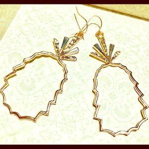 Rose Gold-tone Pineapple Dangle Earrings
